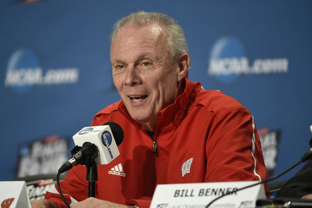 Apr 3, 2015; Indianapolis, IN, USA; Wisconsin Badgers head coach Bo Ryan speaks during a press conference for the 2015 NCAA Men's Division I Championship semi-final game at Lucas Oil Stadium. Mand ...