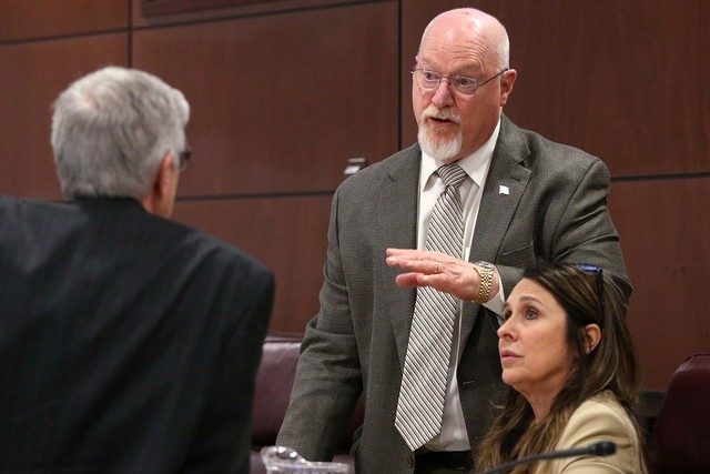 Nevada Assembly Republicans, from left, Erven Nelson, Randy Kirner and Victoria Seaman talk before a committee hearing at the Legislative Building in Carson City, Nev., on Wednesday, April 8, 2015 ...