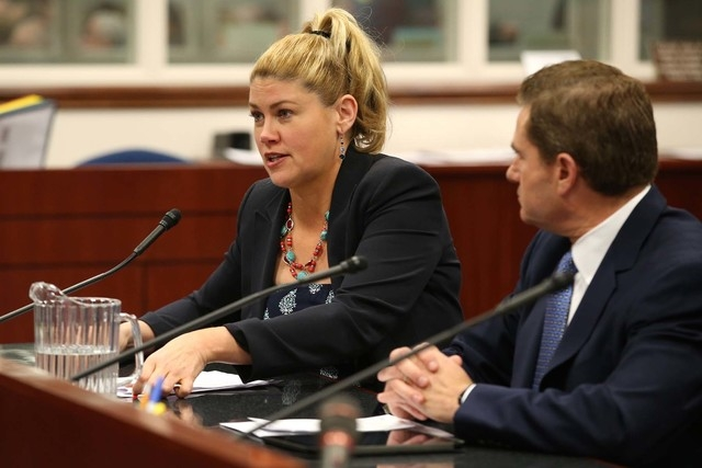 Nevada Sen. Patricia Farley, R-Las Vegas, and lobbyist Alfredo Alonso testify on one of several bills lawmakers are considering that would make the use of electronic cigarettes subject to the same ...