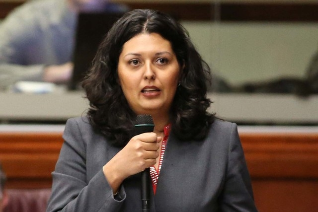 Nevada Assemblywoman Olivia Diaz, D-North Las Vegas, speaks in opposition to a bill that would help low-income students attend private schools during floor discussion at the Legislative Building i ...