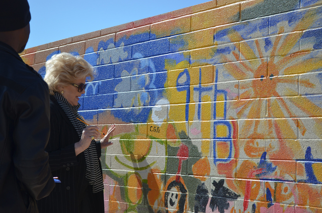 Las Vegas Mayor Carolyn Goodman makes her contribution to the 9th Bridge School mural in honor of Week of the Young Child April 16. The innovative early childhood and elementary school in downtown ...