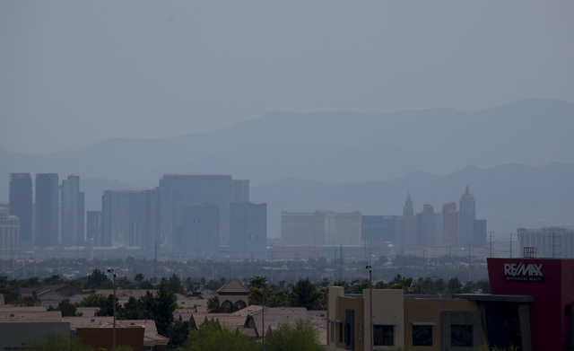 The Las Vegas Strip is seen from Town Center Drive and the Beltway on Tuesday, April 22, 2014. The Clark County Department of Air Quality issued a dust advisory for Tuesday, April 14, 2015. (Jeff  ...