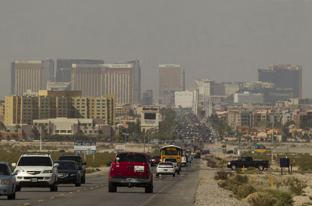 Traffic on Las Vegas Boulevard near St. Rose Parkway  on Tuesday, April 14, 2015. The National Weather Service issued a wind advisory until 11 pm tonight.Jeff Scheid/Las Vegas Review-Journal) Foll ...