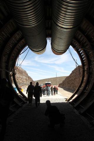 Members of a congressional tour of the Yucca Mountain exploratory tunnel enter the south portal Thursday, April 9, 2015. (Sam Morris/Las Vegas Review-Journal) Follow Sam Morris on Twitter @sammorrisRJ