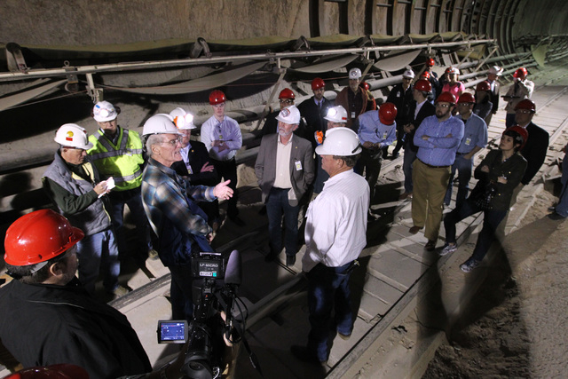 Department of Energy geologist William Boyle, plaid shirt on left, leads a congressional tour of the Yucca Mountain exploratory tunnel Thursday, April 9, 2015. (Sam Morris/Las Vegas Review-Journal ...
