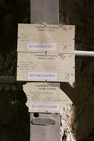 Old test identification tags are seen during a congressional tour of the Yucca Mountain exploratory tunnel Thursday, April 9, 2015. (Sam Morris/Las Vegas Review-Journal) Follow Sam Morris on Twitt ...