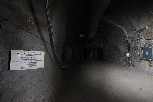 """Construction Alcove #1"" is seen during a congressional tour of the Yucca Mountain exploratory tunnel Thursday, April 9, 2015. (Sam Morris/Las Vegas Review-Journal) Follow Sam Morris on  ..."