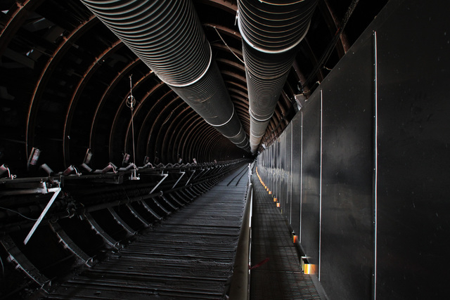 Exhaust vents lead down from the north portal during a congressional tour of the Yucca Mountain exploratory tunnel Thursday, April 9, 2015. (Sam Morris/Las Vegas Review-Journal) Follow Sam Morris  ...