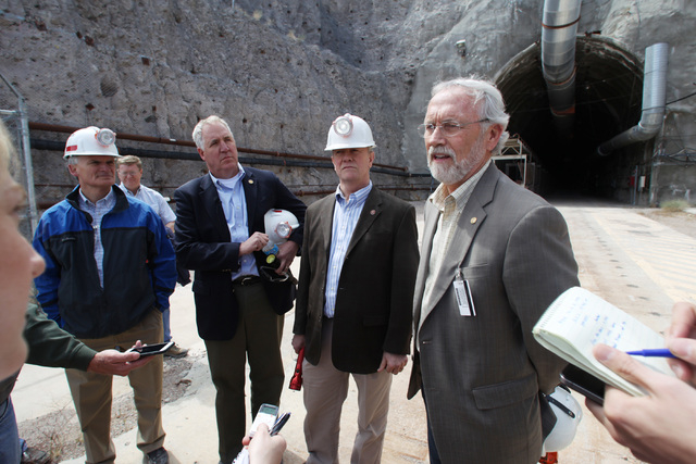 From left, U.S. Reps. Bob Latta, R-Ohio, John Shimkus, R-Ill, Jerry McNerney, D-Calif., and Dan Newhouse, R-Wash., speak to members of the media after a congressional tour of the Yucca Mountain ex ...