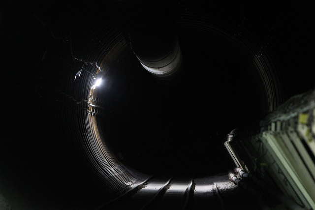 The final working light in the south portal of the Yucca Mountain exploratory tunnel is seen before it descends into darkness Thursday, April 9, 2015. (Sam Morris/Las Vegas Review-Journal) Follow  ...