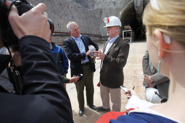 U.S. Reps. John Shimkus, R-Ill., and Jerry McNerney, D-Calif., talk to the media during a congressional tour of the Yucca Mountain exploratory tunnel Thursday, April 9, 2015. (Sam Morris/Las Vegas ...