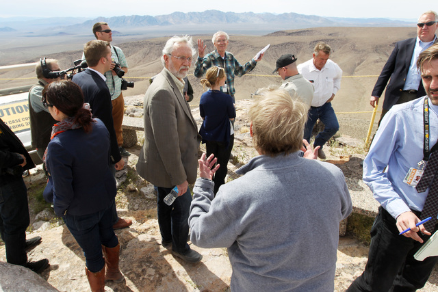 Department of Energy geologist William Boyle, back center, talks from the quest of the Yucca Mountain exploratory tunnel during a congressional tour Thursday, April 9, 2015. (Sam Morris/Las Vegas  ...