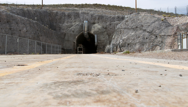 The north portal of the Yucca Mountain exploratory tunnel is seen Thursday, April 9, 2015. (Sam Morris/Las Vegas Review-Journal) Follow Sam Morris on Twitter @sammorrisRJ