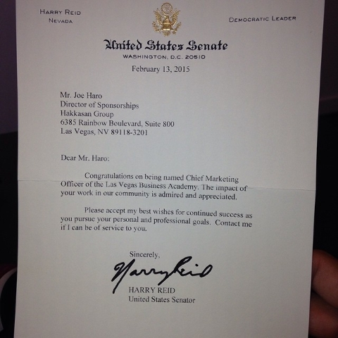 Former UNLV star running back Joe Haro received this letter from U.S. Sen. Harry Reid. (Photo courtesy of Haro)