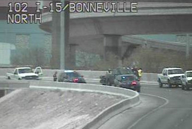 The ramp from southbound U.S. Highway 95 to southbound Interstate 15 was closed due to damage about 12:20 p.m., Friday, May 22, 2015, the Nevada Department of Transportation said in a tweet. (Cour ...