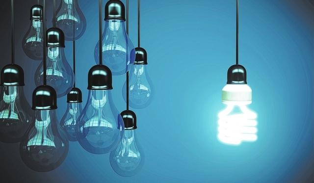 lightbulbs on blue