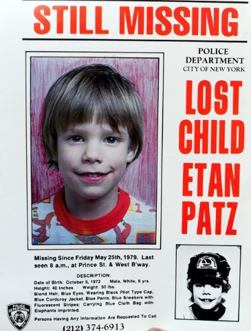 A copy photo of the original missing poster of Etan Patz is shown during a news conference in New York, April 19, 2012. (Reuters/Keith Bedford)