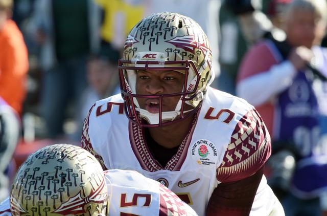 Jan 1, 2015; Pasadena, CA, USA; Florida State Seminoles quarterback Jameis Winston (5) warms up before the 2015 Rose Bowl college football game against the Oregon Ducks at Rose Bowl. (Kirby Lee-US ...