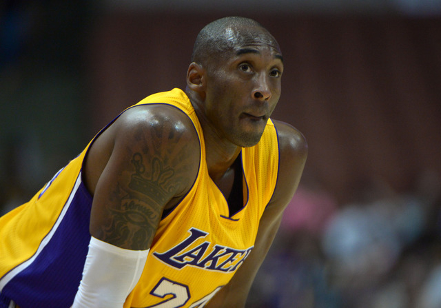 Oct 16, 2014; Anaheim, CA, USA; Los Angeles Lakers guard Kobe Bryant (24) reacts against the Utah Jazz at the Honda Center. (Kirby Lee-USA TODAY Sports)