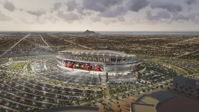 An artist's depiction provided by MANICA Architecture, is shown of the proposed football stadium on property in Carson, California, February 20, 2015. The San Diego Chargers and the Oakland Raider ...