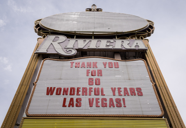 The final billing on the marquee of the Riviera Hotel & Casino in Las Vegas in the last hour before its closing on Monday, May 4, 2015. (Mark Damon/Las Vegas News Bureau)