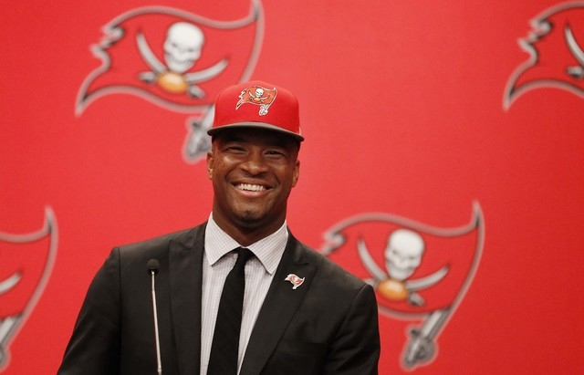 May 1, 2015; Tampa, FL, USA; Tampa Bay Buccaneers quarterback Jameis Winston (3) is introduced at a press conference at One Buc Place the day after being selected as the number one overall pick in ...