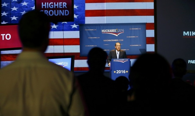 U.S. Republican presidential candidate, and former Arkansas Governor Mike Huckabee, formallly launches his bid for the 2016 Republican presidential nomination during an event in Hope, Arkansas May ...