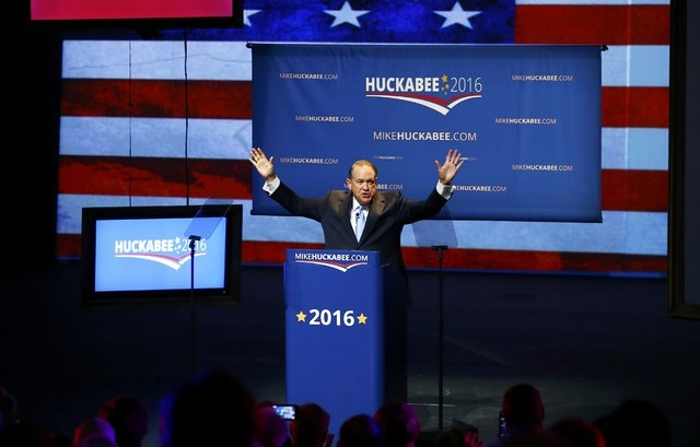 U.S. Republican presidential candidate and former Arkansas Governor Mike Huckabee addresses supporters as he formallly launches his bid for the 2016 Republican presidential nomination during an ev ...