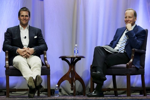 New England Patriots quarterback Tom Brady sits down for an event moderated by sportscaster Jim Gray (R) at Salem State University in Salem, Massachusetts, United States May 7, 2015.  (REUTERS/Poo ...