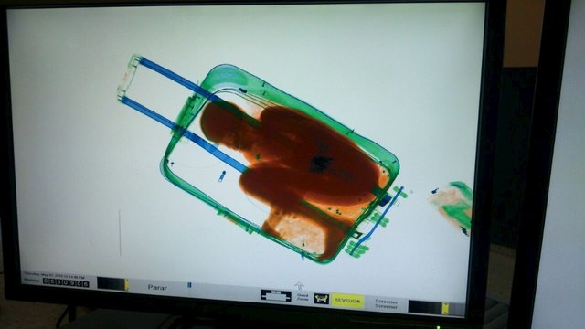The figure of an eight-year-old boy is seen inside a suitcase on a Spanish civil guard scanner screen at the border between Morocco and Spain's north african enclave Ceuta, Spain in this handout p ...