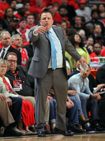 May 10, 2015; Chicago, IL, USA; Chicago Bulls head coach Tom Thibodeau in the second half of game four of the second round of the NBA Playoffs against the Cleveland Cavaliers at the United Center. ...