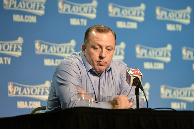 May 12, 2015; Cleveland, OH, USA; Chicago Bulls head coach Tom Thibodeau speaks to the media prior to game five of the second round of the NBA Playoffs at Quicken Loans Arena. (David Richard-USA T ...