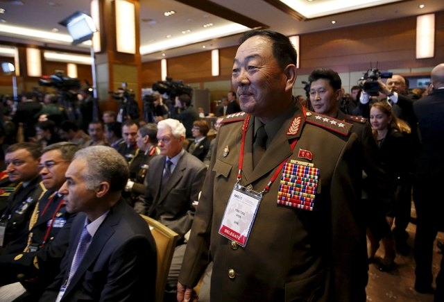 Senior North Korean military officer Hyon Yong Chol (R, front) attends the 4th Moscow Conference on International Security (MCIS) in Moscow in this April 16, 2015 file photo. North Korea has execu ...