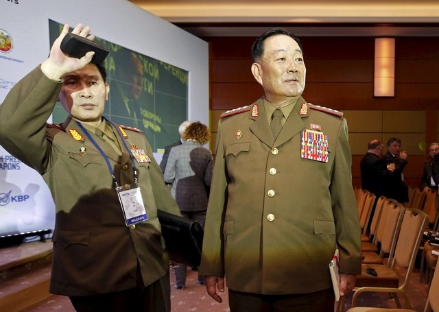 Senior North Korean military officer Hyon Yong Chol (R) attends the 4th Moscow Conference on International Security (MCIS) in Moscow in this April 16, 2015 file photo. North Korea has executed Hyo ...
