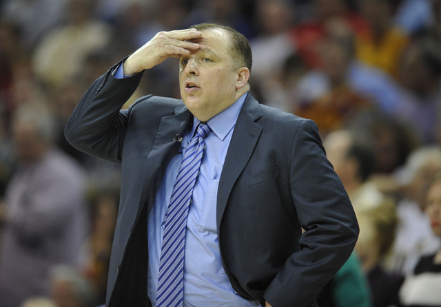 May 12, 2015; Cleveland, OH, USA; Chicago Bulls head coach Tom Thibodeau reacts in the fourth quarter against the Cleveland Cavaliers in game five of the second round of the NBA Playoffs at Quicke ...
