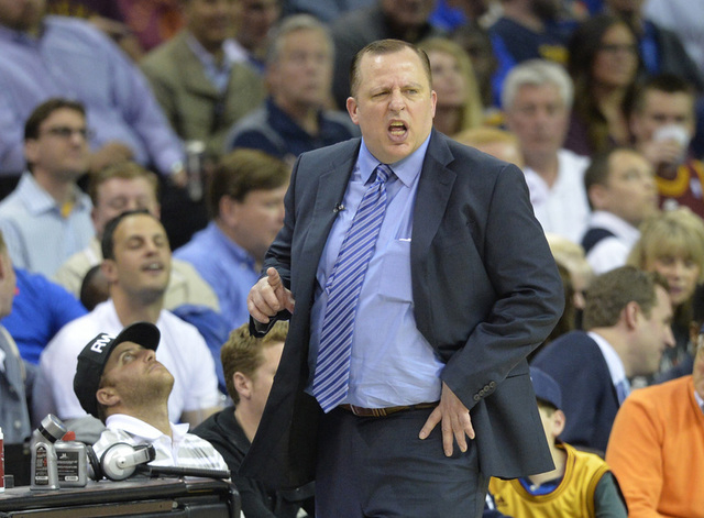 May 12, 2015; Cleveland, OH, USA; Chicago Bulls head coach Tom Thibodeau reacts in the second quarter against the Cleveland Cavaliers in game five of the second round of the NBA Playoffs at Quicke ...