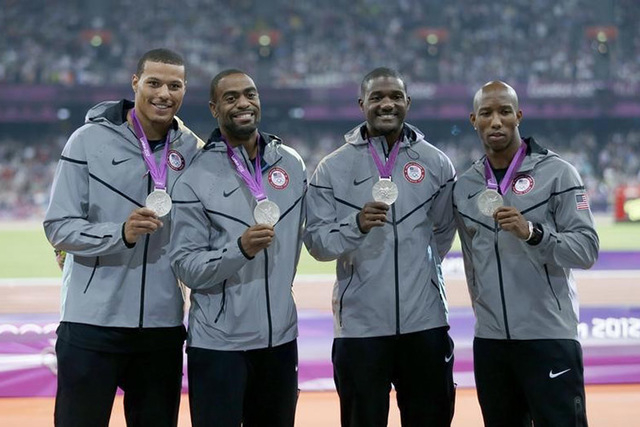 Silver medalists (R-L) Trell Kimmons, Justin Gatlin, Tyson Gay and Ryan Bailey of the U.S. pose after receiving their medals for the men's 4x100m relay  during the London 2012 Olympic Games at the ...