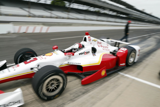 Helio Castroneves escaped serious injury when his car crashed and went airborned during practive Wednesday for the 2015 Indianapolis 500 at Indianapolis Motor Speedway. (Brian Spurlock-USA TODAY S ...