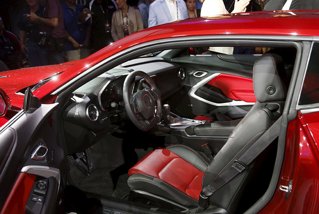The interior of General Motors Co's all-new Chevrolet 2016 Camaro SIX is seen during its official debut at Belle Isle in Detroit, Michigan May 16, 2015.  REUTERS/Rebecca Cook