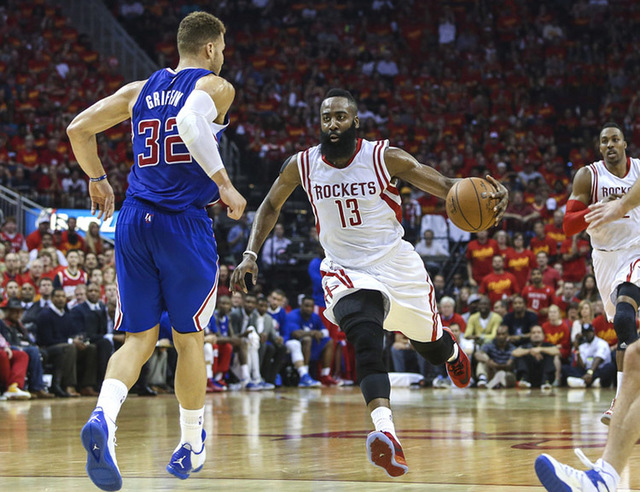 May 17, 2015; Houston, TX, USA; Houston Rockets guard James Harden (13) drives the ball during the second quarter against the Los Angeles Clippers in game seven of the second round of the NBA Play ...