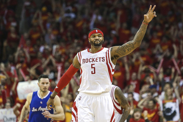 May 17, 2015; Houston, TX, USA; Houston Rockets forward Josh Smith (5) reacts after making a basket during the third quarter against the Los Angeles Clippers in game seven of the second round of t ...