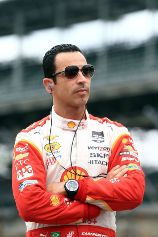 Helio Castroneves escaped serious injury when his car crashed and went airborne during practice Wednesday for the 2015 Indianapolis 500 at Indianapolis Motor Speedway. (Andrew Weber-USA TODAY Sports)