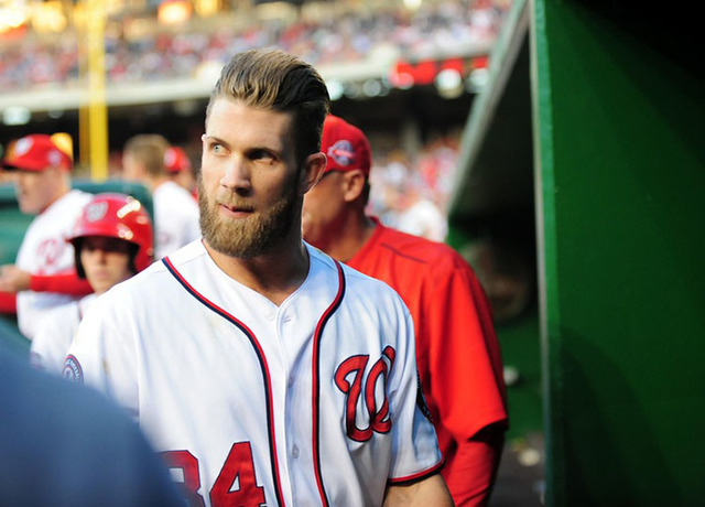May 20, 2015; Washington, DC, USA; Washington Nationals outfielder Bryce Harper (34) looks on after being thrown out of the game in the third inning against the New York Yankees at Nationals Park. ...