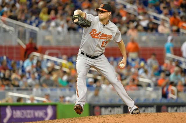 May 24, 2015; Miami, FL, USA; Baltimore Orioles relief pitcher Brian Matusz (17) delivers a pitch during the seventh inning against the Miami Marlins at Marlins Park. The Marlins won 5-2. (Steve M ...
