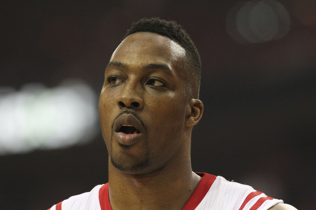 May 25, 2015; Houston, TX, USA; Houston Rockets center Dwight Howard (12) reacts during the first quarter against the Golden State Warriors in game four of the Western Conference Finals of the NBA ...