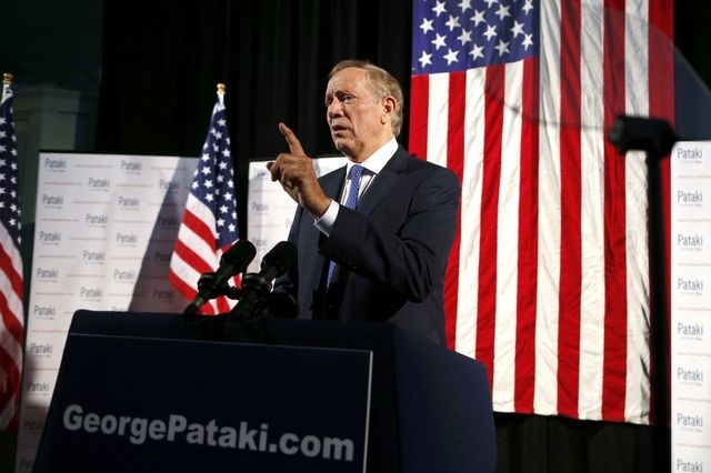 Republican presidential candidate and former New York Gov. George Pataki participates in a walk-thru prior to formally announcing his candidacy for the 2016 Republican presidential nomination in E ...