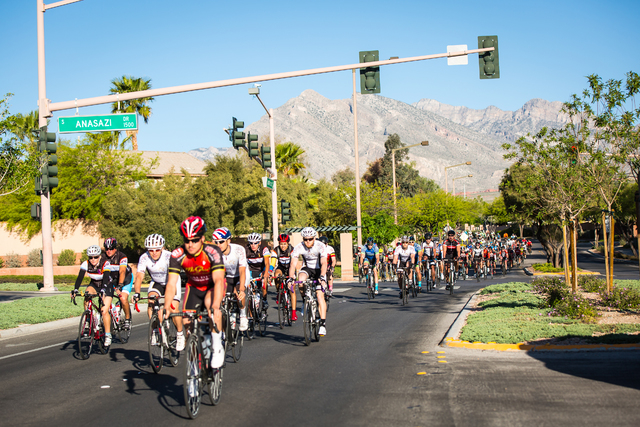 Cyclists take part in the Tour de Summerlin April 18, 2015. (Special to View)