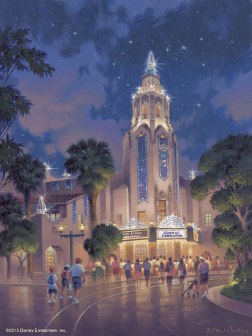 This artist's rendering, Carthay Circle Theatre at Disney California Adventure park is adorned in diamonds to commemorate the Diamond Celebration at the Disneyland Resort. The Diamond Celebration  ...