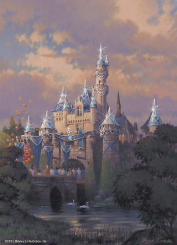 This artist's rendering shows Sleeping Beauty Castle at Disneyland park draped in diamonds as part of the Diamond Celebration at the Disneyland Resort. The Diamond Celebration at the Disneyland Re ...