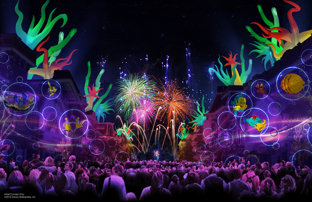 """In this artist's rendering, Ariel and her underwater friends from """"The Little Mermaid"""" bring Main Street, U.S.A. at Disneyland park """"under the sea"""" with projections  in """"Disneyland Forever,"""" a new ..."""
